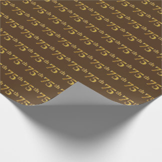 Brown, Faux Gold 75th (Seventy-Fifth) Event Wrapping Paper