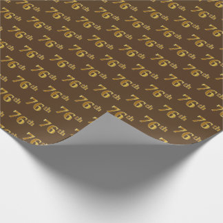 Brown, Faux Gold 76th (Seventy-Sixth) Event Wrapping Paper