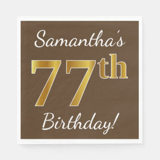 Brown, Faux Gold 77th Birthday + Custom Name Disposable Napkins