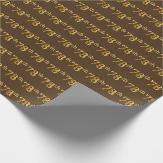 Brown, Faux Gold 78th (Seventy-Eighth) Event Wrapping Paper