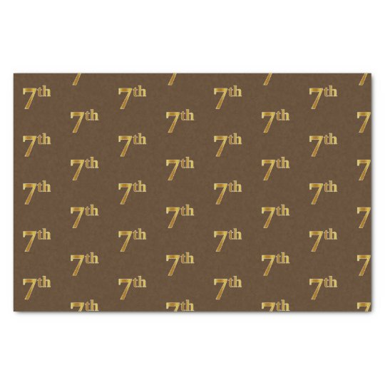 Brown, Faux Gold 7th (Seventh) Event Tissue Paper
