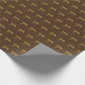 Brown, Faux Gold 7th (Seventh) Event Wrapping Paper