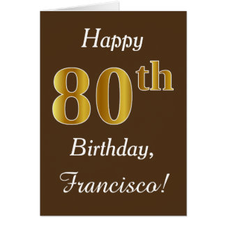 Brown, Faux Gold 80th Birthday + Custom Name Card