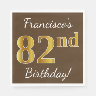 Brown, Faux Gold 82nd Birthday + Custom Name Paper Napkin