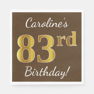 Brown, Faux Gold 83rd Birthday + Custom Name Disposable Napkins