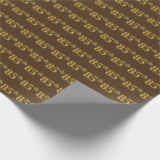 Brown, Faux Gold 85th (Eighty-Fifth) Event Wrapping Paper