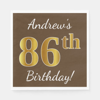 Brown, Faux Gold 86th Birthday + Custom Name Disposable Napkins