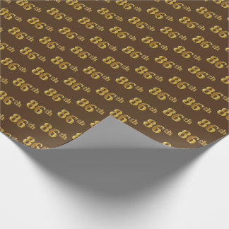 Brown, Faux Gold 86th (Eighty-Sixth) Event Wrapping Paper