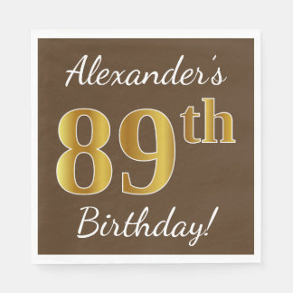 Brown, Faux Gold 89th Birthday + Custom Name Paper Napkins