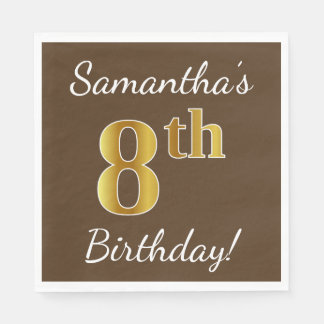 Brown, Faux Gold 8th Birthday + Custom Name Paper Napkins