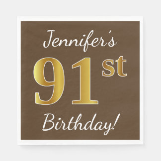 Brown, Faux Gold 91st Birthday + Custom Name Disposable Napkin