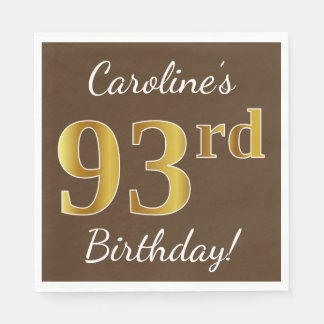Brown, Faux Gold 93rd Birthday + Custom Name Disposable Napkin
