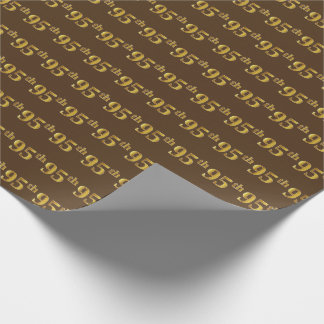 Brown, Faux Gold 95th (Ninety-Fifth) Event Wrapping Paper