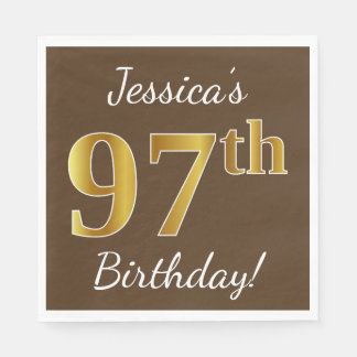 Brown, Faux Gold 97th Birthday + Custom Name Paper Napkins