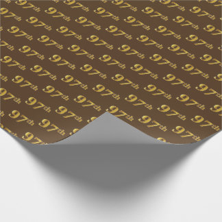 Brown, Faux Gold 97th (Ninety-Seventh) Event Wrapping Paper