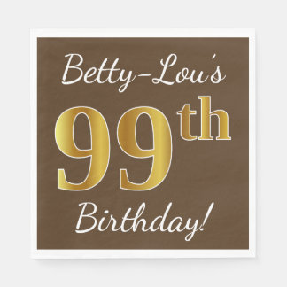 Brown, Faux Gold 99th Birthday + Custom Name Paper Napkins