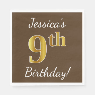 Brown, Faux Gold 9th Birthday + Custom Name Disposable Napkins