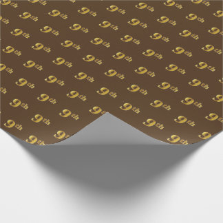 Brown, Faux Gold 9th (Ninth) Event Wrapping Paper