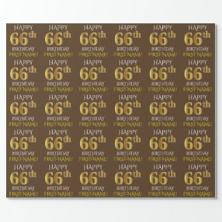 """Brown, Faux Gold """"HAPPY 66th BIRTHDAY"""" Wrapping Paper"""