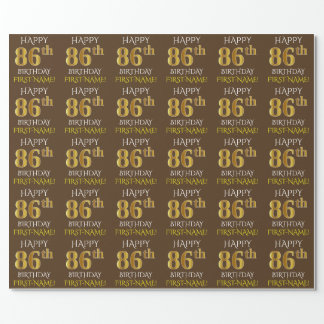 """Brown, Faux Gold """"HAPPY 86th BIRTHDAY"""" Wrapping Paper"""