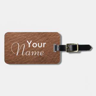 Brown Faux Leather Texture Luggage Tags
