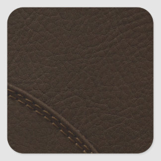 Brown Faux Leather Upholstery Square Sticker