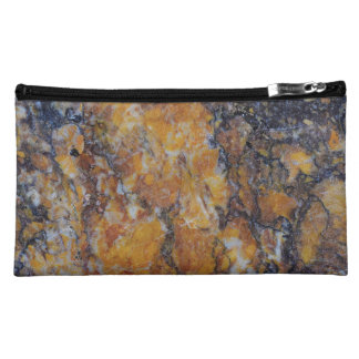 Brown Faux Marble Stone Makeup Bag