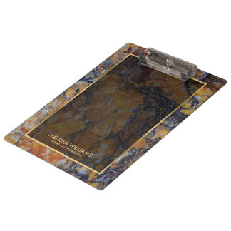 Brown Faux Marble Stone Texture Gold Border Clipboard