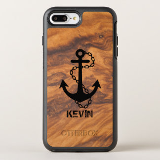 Brown Faux Wood & Black Nautical Boat Anchor OtterBox Symmetry iPhone 8 Plus/7 Plus Case