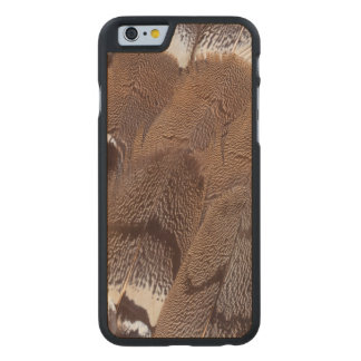 Brown Feather Design Carved Maple iPhone 6 Case