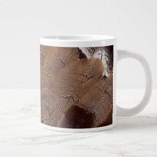 Brown Feather Design Large Coffee Mug