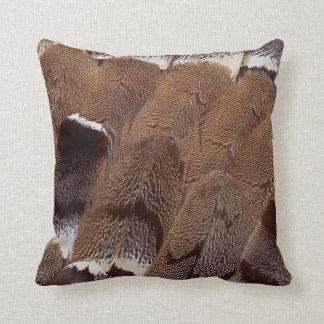 Brown Feather Design Throw Pillow