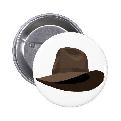 Brown Fedora narrow ribbon Pinback Button