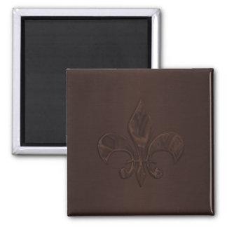 Brown Fleur de Lis Square Magnet