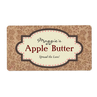 Brown Floral Apple Butter Jam Jar Labels, Custom Shipping Label