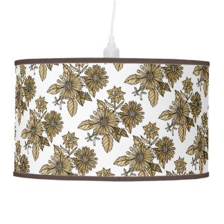 Brown Floral Bouquet Hanging Lamps