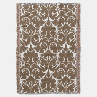 Brown Floral Damask Throw Blanket