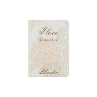 Brown Floral Love Homeschool Passport Holder