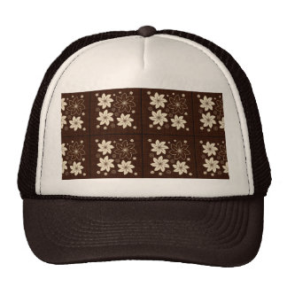 Brown floral pattern hats