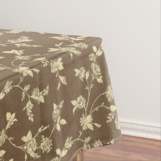 Brown Floral Pattern Tablecloth