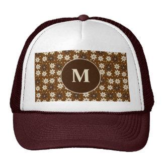Brown floral pattern trucker hat