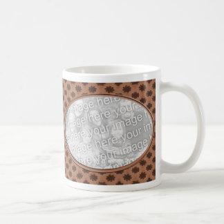 brown floral photo frame coffee mug