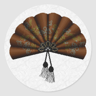Brown Floral Pixel Art Fan Classic Round Sticker
