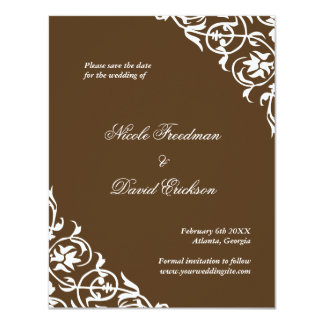 "Brown flourish classy scroll wedding save the date 4.25"" x 5.5"" invitation card"