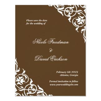 "Brown flourish classy scroll wedding save the date 4.25"" x 5.5"" invitation card"