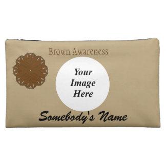 Brown Flower Ribbon Template Makeup Bags