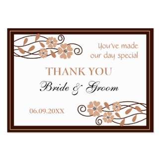 Brown Flowers Thank You Wedding Favor Gift Tags Business Card Template