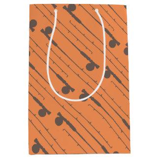 Brown Fly Fishing Rods Pattern Medium Gift Bag