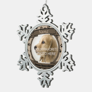 Brown Forever Remembered Dog or Cat Memorial Snowflake Pewter Christmas Ornament