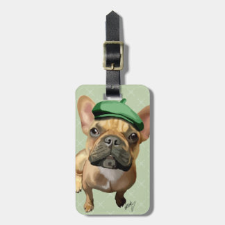 Brown French Bulldog with Green Hat Luggage Tag
